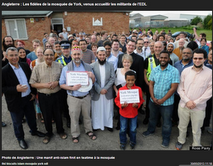 York Mosque people welcoming the agressive EDL